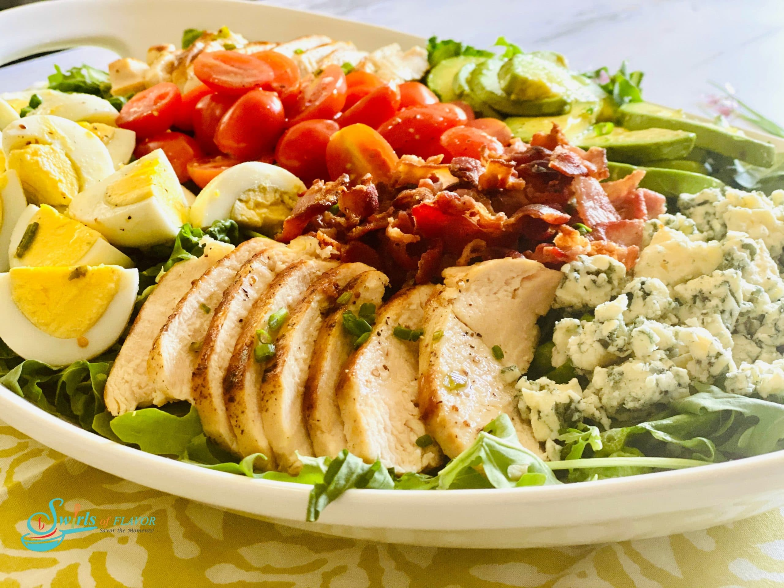 Cobb Salad in oval white platter