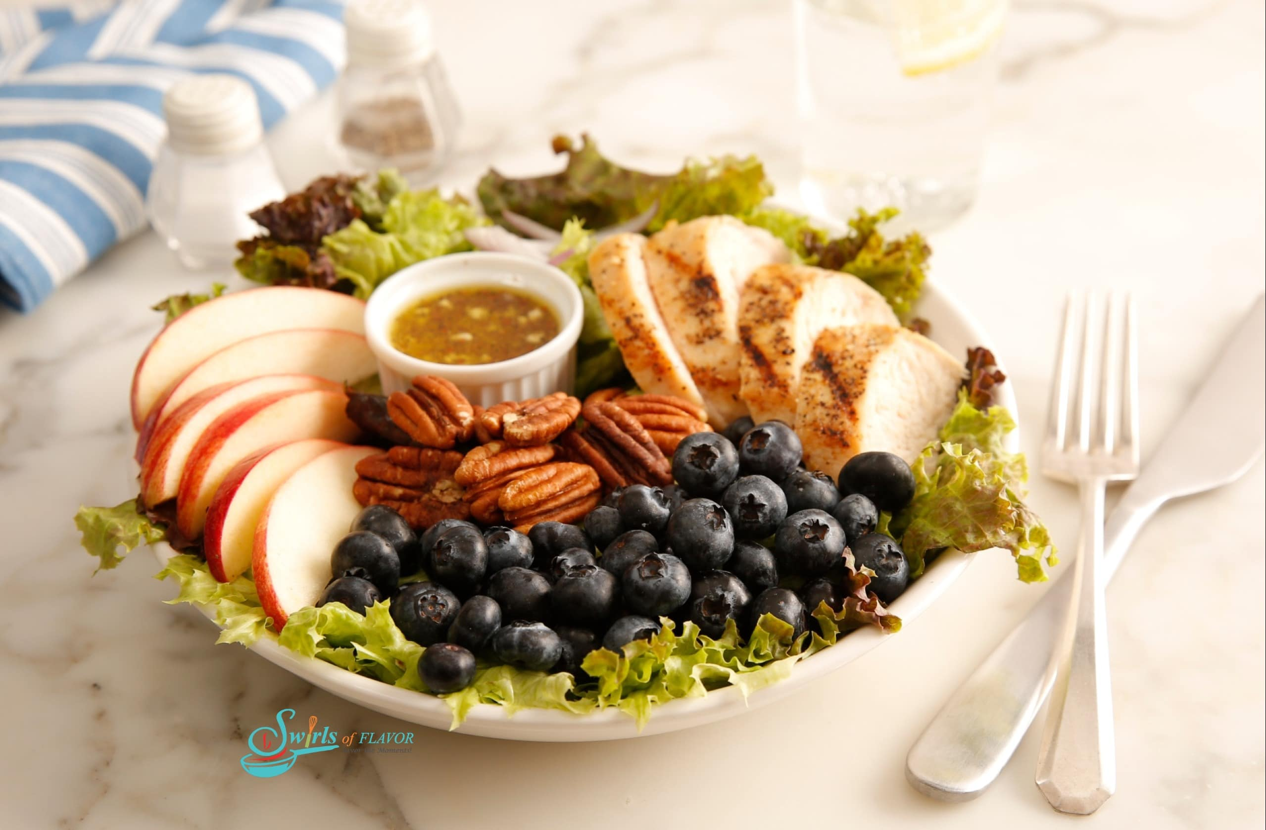 Chicken salad with apples, pecans and blueberries on bed of lettuce