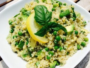 quinoa with peas and avocado