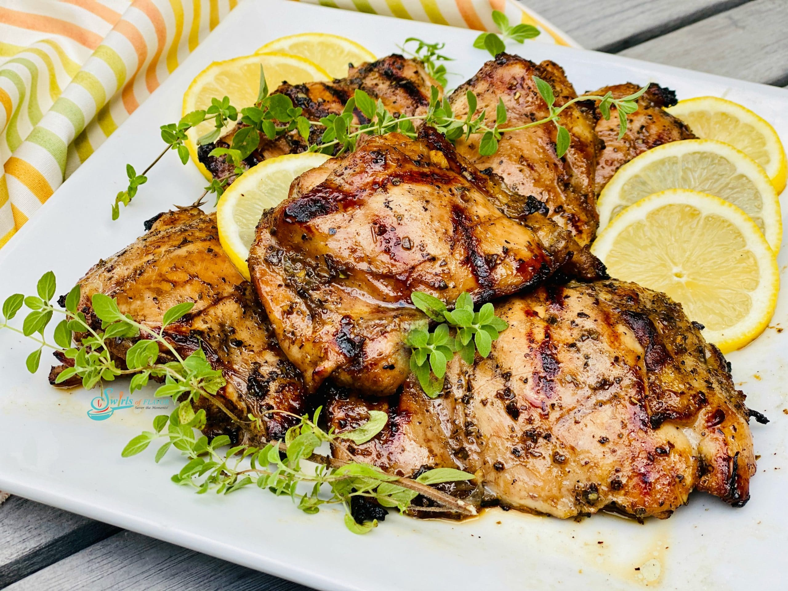 Marinated grilled chicken with lemon and oregano