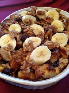 banana and chocolate bread pudding in a baking dish