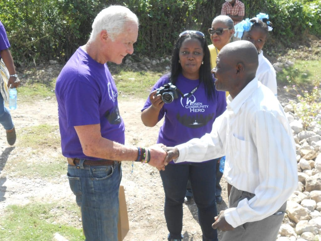 Mr. Rosen thanked in Haiti by a man for helping to rebuild homes